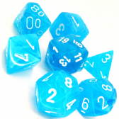 Light Blue & White Cirrus Polyhedral 7 Dice Set